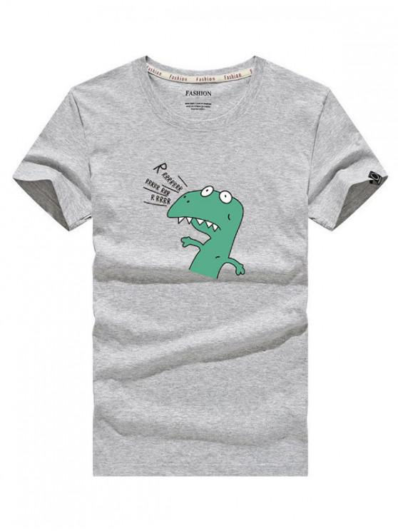 buy Cartoon Dinosaur Letter Print Short Sleeves Cartoon T-shirt - GRAY CLOUD S