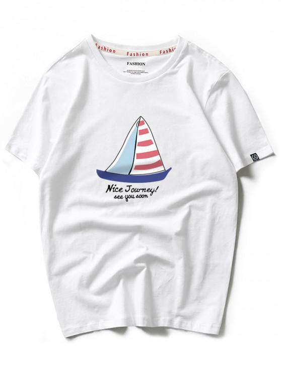 Camiseta de manga corta con estampado de viaje agradable en velero a rayas - Blanco S