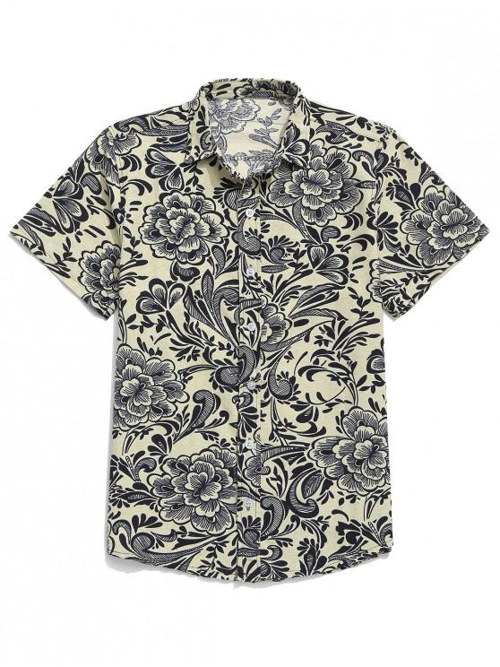 buy Chinese Allover Flower Painting Print Button Casual Shirt - BEIGE M