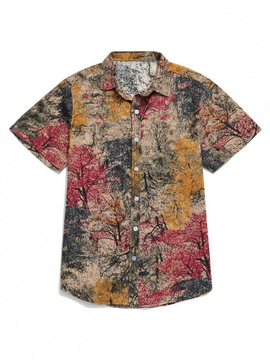 hot Chinese Colorful Ink Painting Print Button Shirt - CHERRY RED 3XL