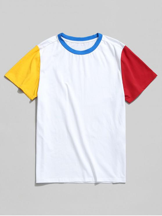 womens ZAFUL Short Sleeve Color Block Basic Tee - WHITE L