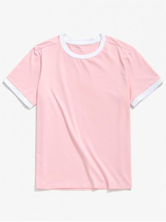 women ZAFUL Casual Short Sleeve Ringer T-shirt - PIG PINK S