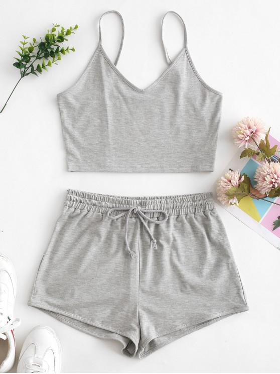 latest ZAFUL Solid Crop Cami Sports Two Pieces Suit - GRAY S