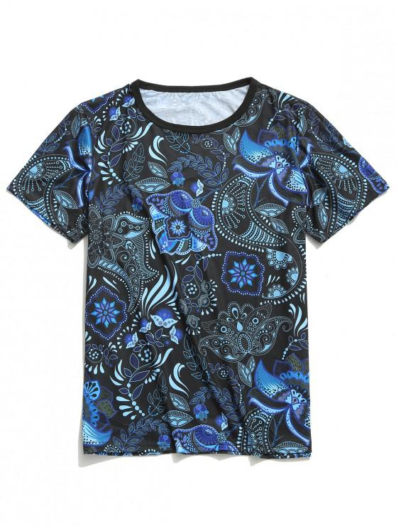 womens Short Sleeves Tribal Paisley Flower Print T-shirt - LAPIS BLUE L