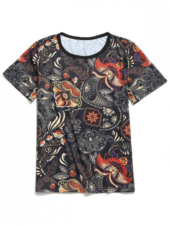 Camiseta de manga corta con estampado floral tribal de Paisley - Negro XL