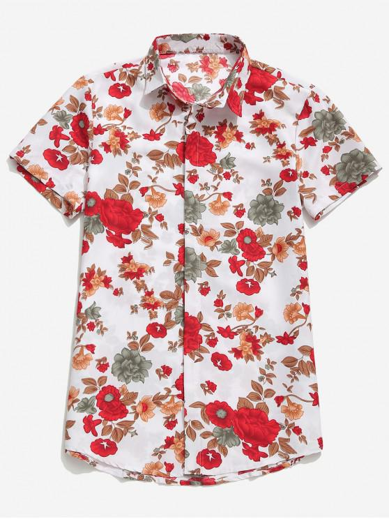 fashion Flowers Plant Print Casual Hawaii Beach Shirt - WHITE 2XL