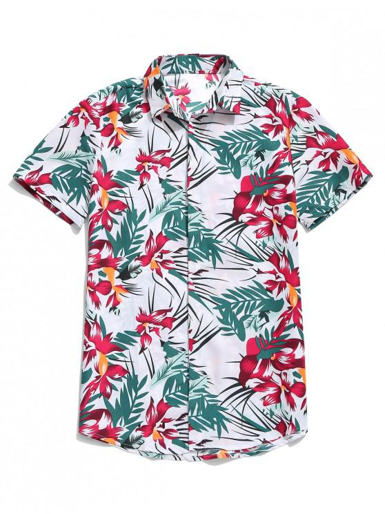 unique Hawaii Flower Leaf Print Casual Beach Shirt - WHITE L