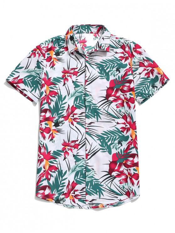 affordable Hawaii Flower Leaf Print Casual Beach Shirt - WHITE 2XL