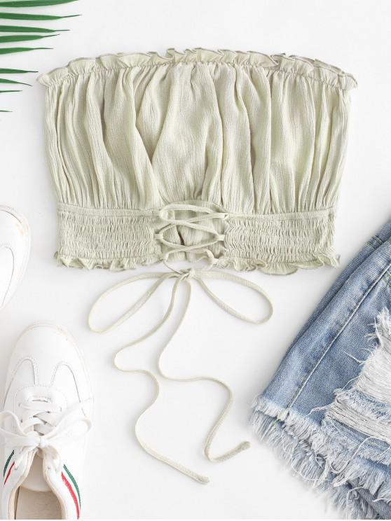hot ZAFUL Lettuce Trim Smocked Lace Up Bandeau Top - GREEN S