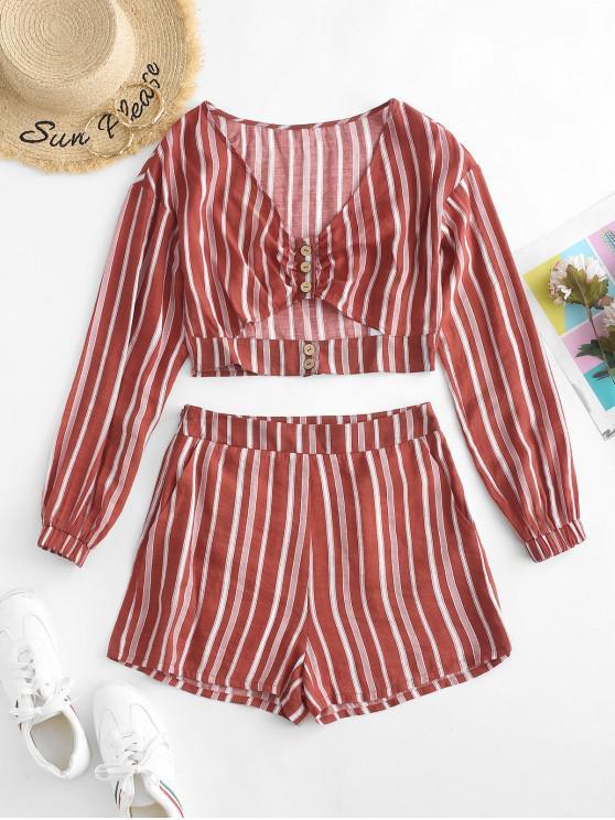shops ZAFUL Cutout Striped Co Ord Set - FIREBRICK M