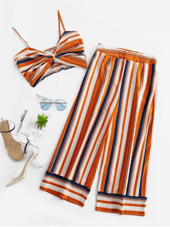 sale Smocked Twist Stripes Two Piece Set - MULTI-A L