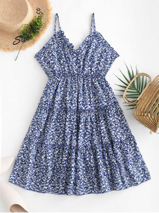 sale Empire Waist Tiny Floral Flared Cami Dress - BLUE L