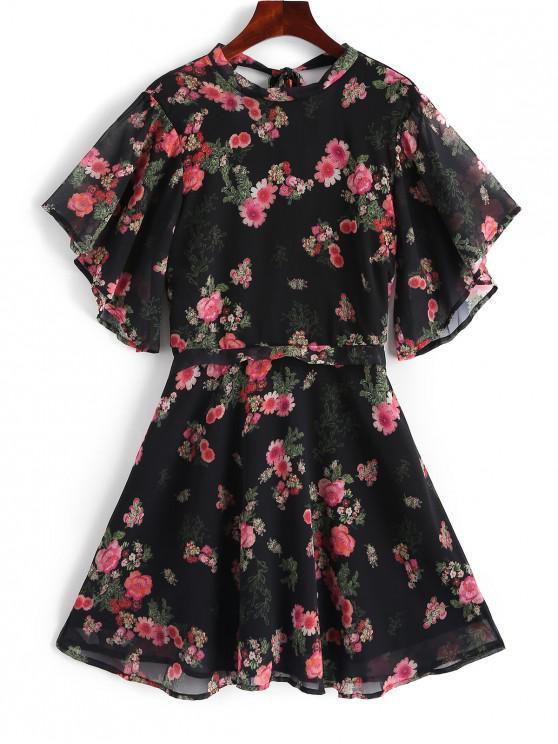 women's V Shaped Back Floral Print Knotted Dress - BLACK M