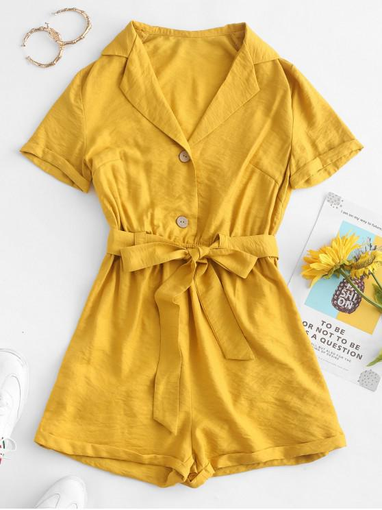 outfits ZAFUL Cuffed Placket Lapel Romper - MUSTARD XL