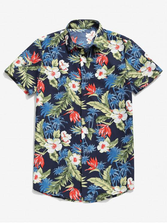 Camisa Tropical Havaiana Flor Palmeira Imprimir Havaí - Azul Escuro L