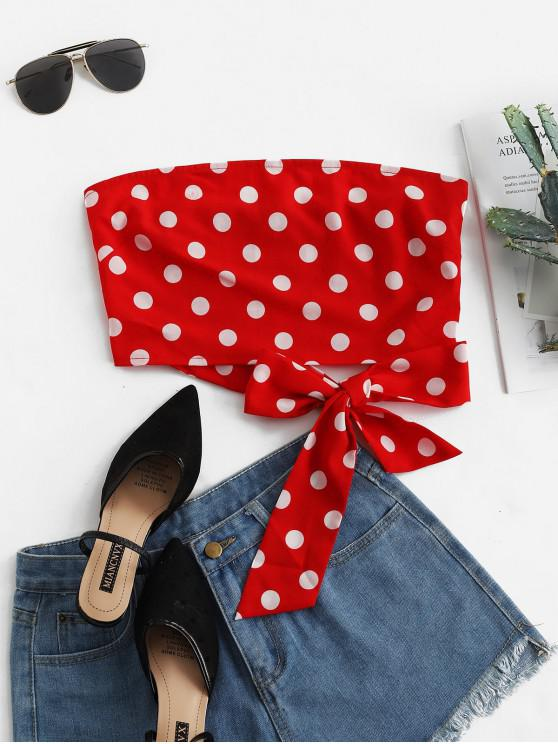 trendy ZAFUL Smocked Knotted Polka Dot Bandeau Top - LAVA RED S