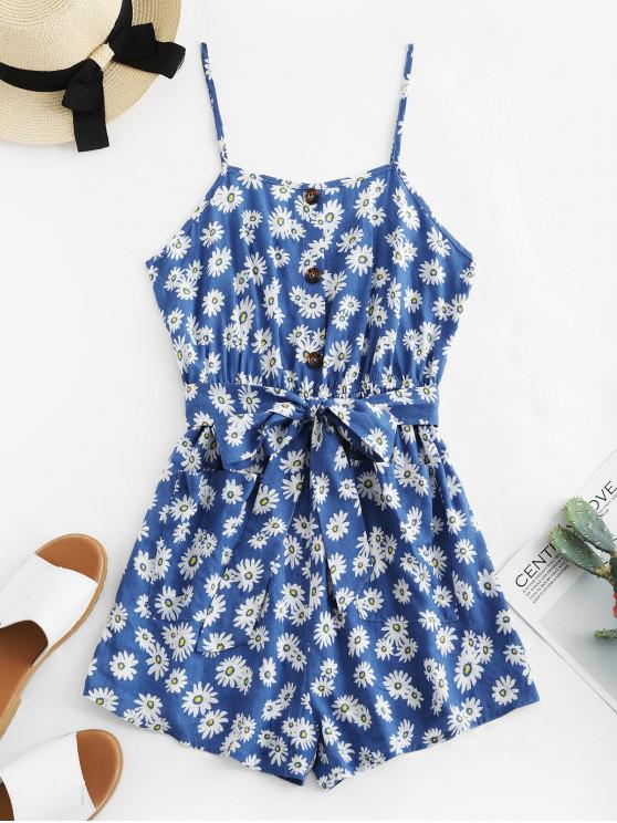 women's ZAFUL Pocket Daisy Floral Cami Belted Romper - MARBLE BLUE XL