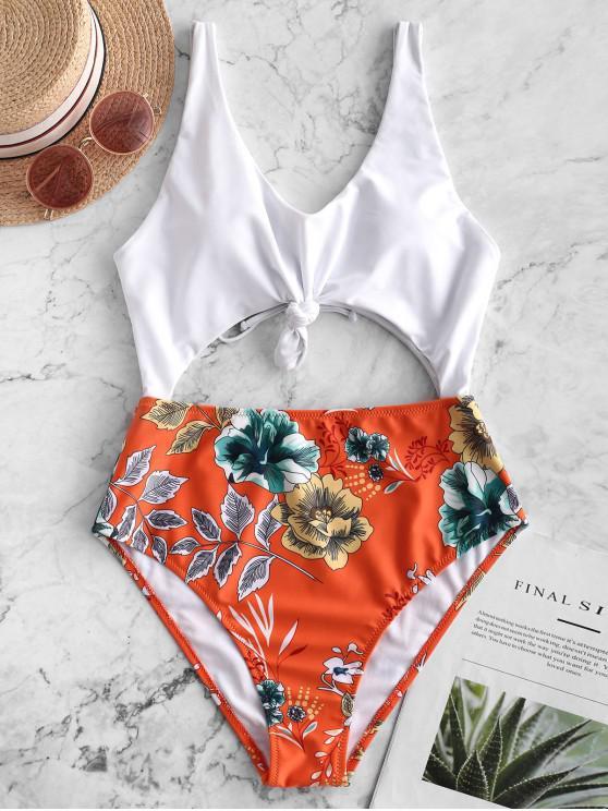 women's ZAFUL Floral Leaf Knot Cutout One-piece Swimsuit - PAPAYA ORANGE XL