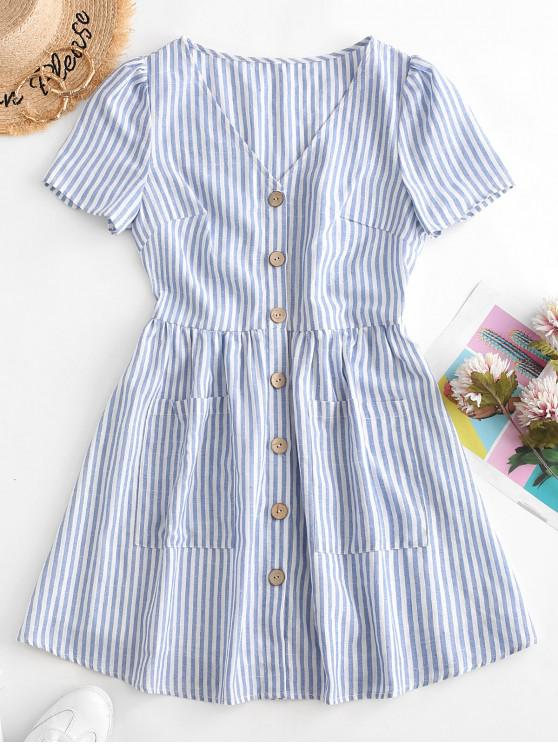 sale ZAFUL Button Down Striped Smock Dress - LIGHT BLUE S