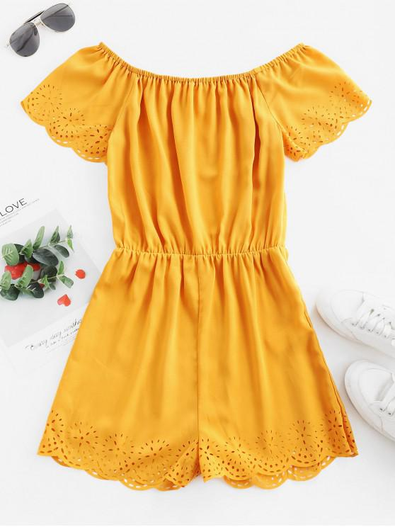 ladies ZAFUL Scalloped Laser Cut Off Shoulder Romper - BEE YELLOW M