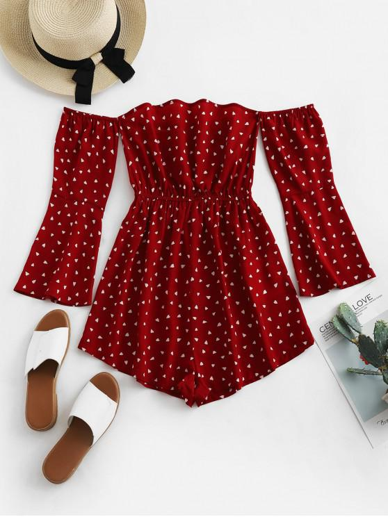 unique ZAFUL Hearts Print Off Shoulder Flare Sleeve Romper - RED WINE L