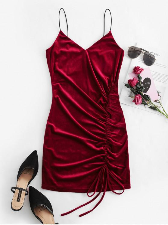 outfit ZAFUL Cinched Velvet Bodycon Cami Dress - RED WINE S