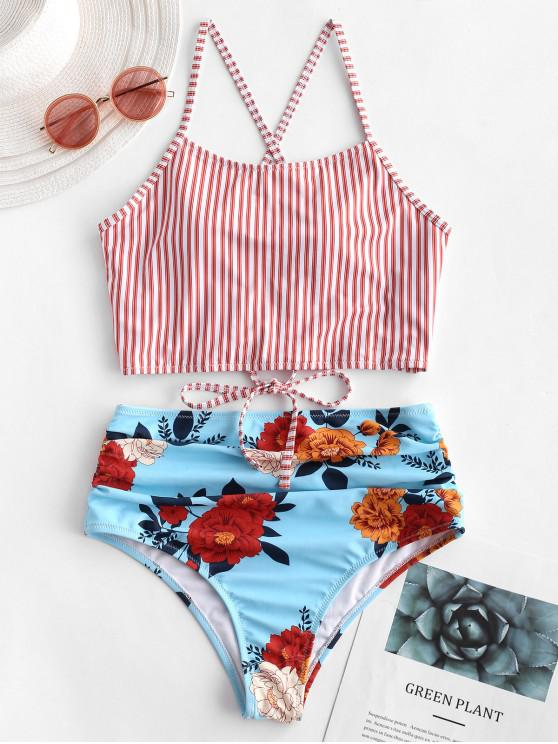 unique ZAFUL Lace-up Ruched Striped Floral Tankini Swimsuit - LAVA RED M