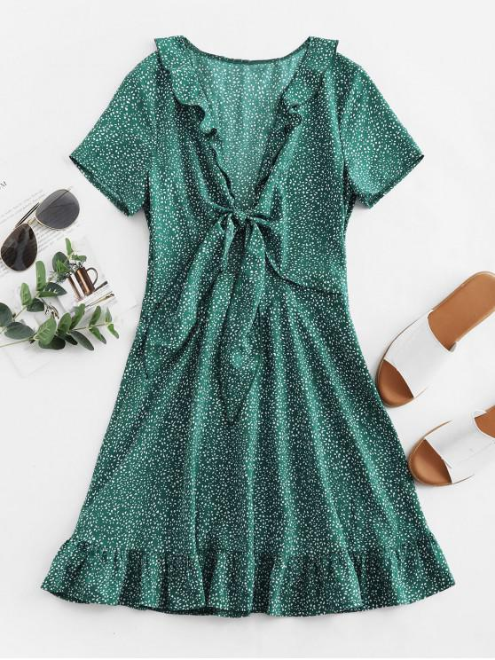 outfit ZAFUL Flounce Knotted Plunge Ditsy Print Mini Dress - GREENISH BLUE M