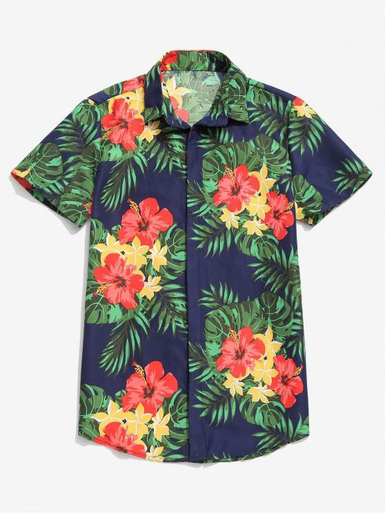 Tropical Flower Leaf Print Camisa Casual Praia de Havaí - Azul Escuro M