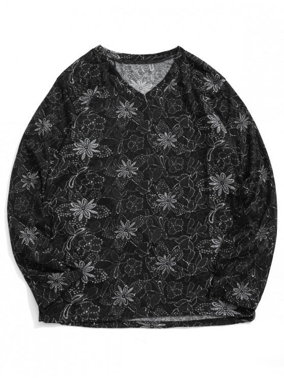 Camiseta de manga larga con estampado de flores y cuello en V - Multicolor L