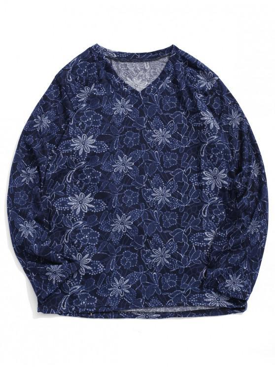 T-shirt a maniche lunghe con stampa floreale con scollo a V - Multi Colori-A 2XL