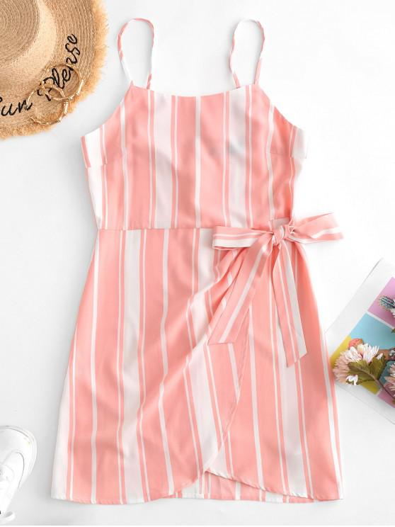 outfit ZAFUL Striped Knot Tulip Dress - MULTI L