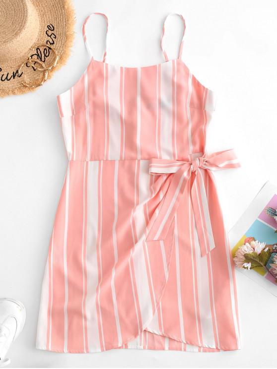 fancy ZAFUL Striped Knot Tulip Dress - MULTI S