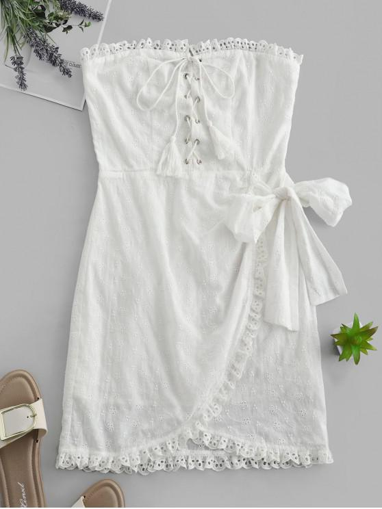 women ZAFUL Lace-up Broderie Anglaise Non-slip Strapless Dress - MILK WHITE L