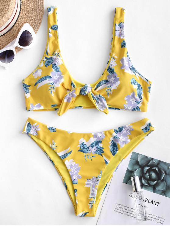 lady ZAFUL Floral Tie Front Reversible Bikini Swimsuit - SUN YELLOW L