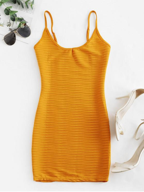 buy Ruched Bodycon Cami Dress - YELLOW L
