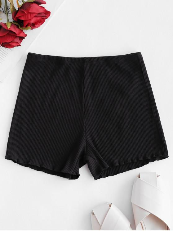 outfit Lettuce Ribbed Slip Shorts - BLACK ONE SIZE