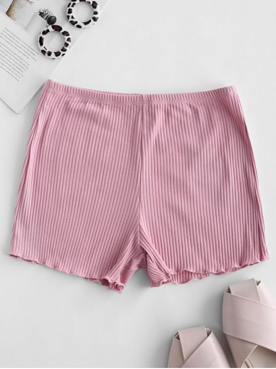 fashion Lettuce Ribbed Slip Shorts - ROSE ONE SIZE