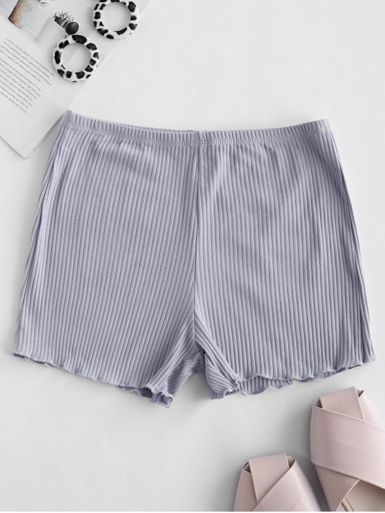 buy Lettuce Ribbed Slip Shorts - BLUE GRAY ONE SIZE