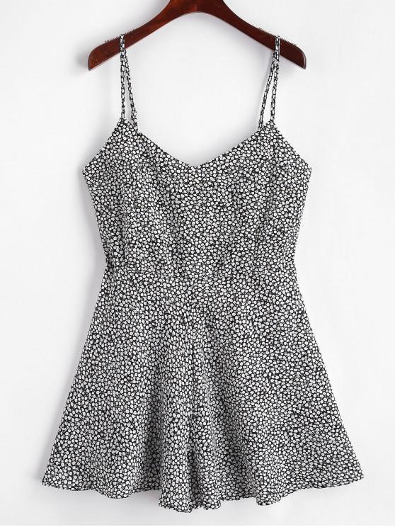 new Tiny Floral Print Wide Leg Cami Romper - BLACK L