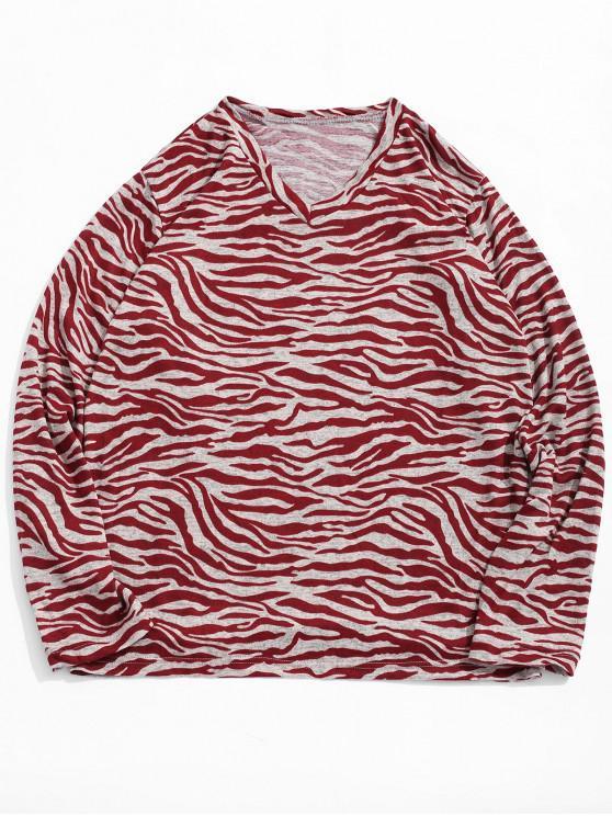 Camiseta con cuello en v y estampado de rayas de rayas irregulares - Castaño Rojo XL
