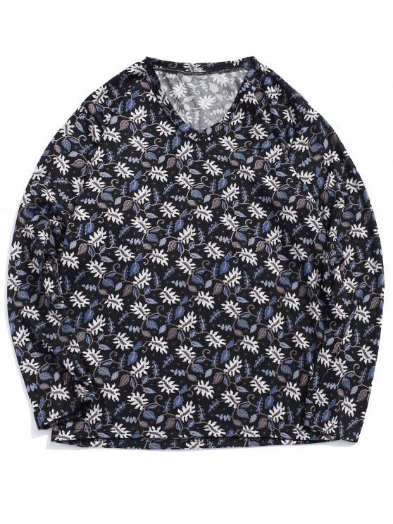 Camiseta de manga larga con estampado floral y camiseta informal - Multicolor XL