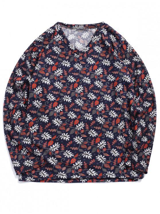 T-shirt casual con stampa floreale a maniche lunghe - Multi Colori-A XL