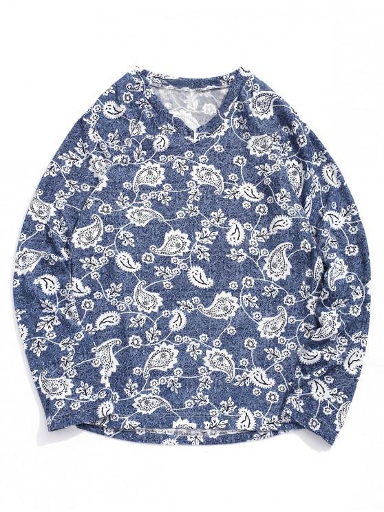 women Long Sleeve Flower Paisley Print Bohemian T-shirt - MULTI L