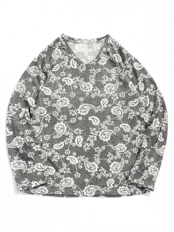 shop Long Sleeve Flower Paisley Print Bohemian T-shirt - MULTI-A L
