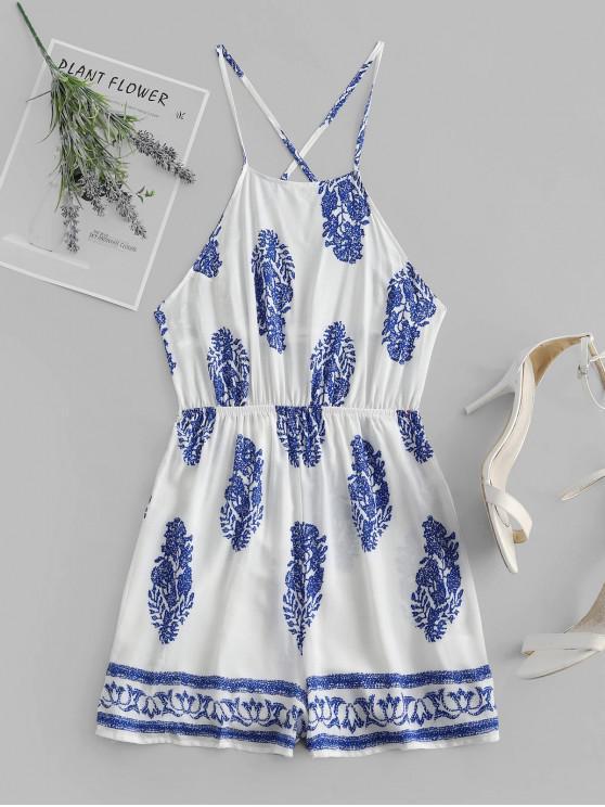 affordable ZAFUL Printed Crisscross Backless Cami Romper - WHITE L