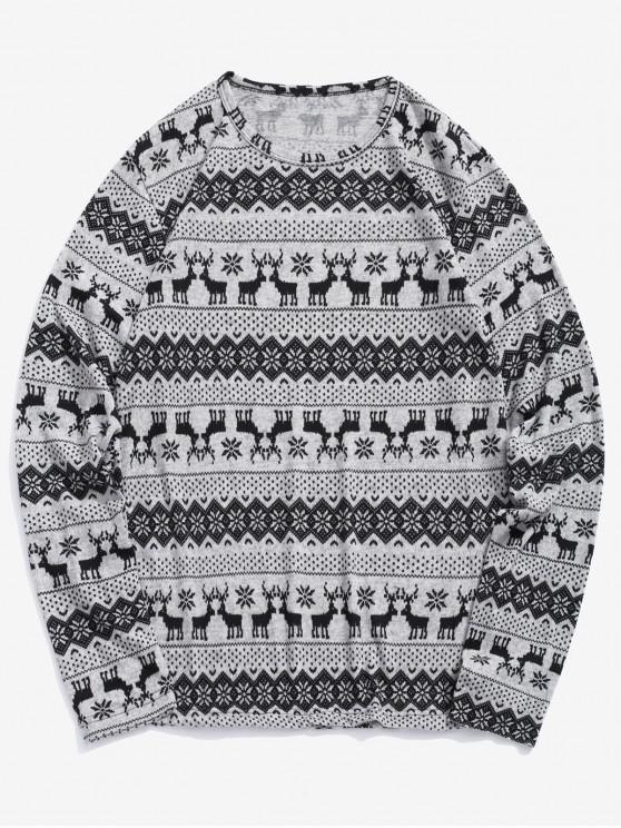 Camiseta estampado gráfico copo de nieve Elk de Navidad - Ganso Gris XL