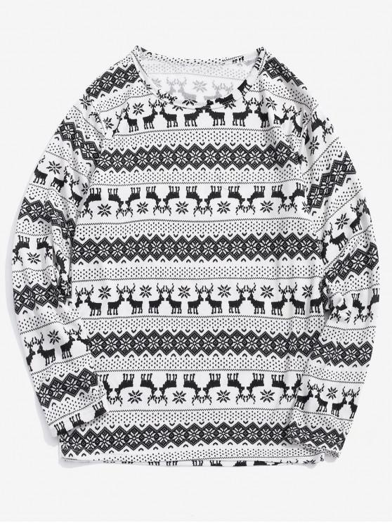 Camiseta estampado gráfico copo de nieve Elk de Navidad - Blanco 2XL