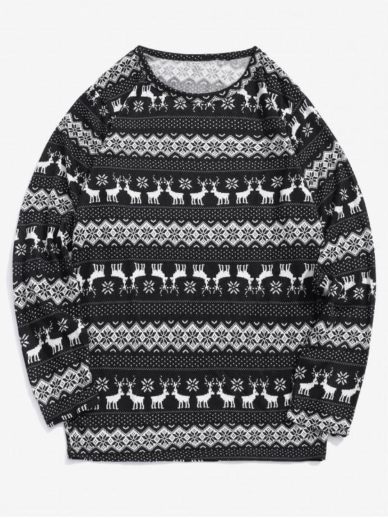outfits Christmas Elk Snowflake Graphic Print T-shirt - BLACK L