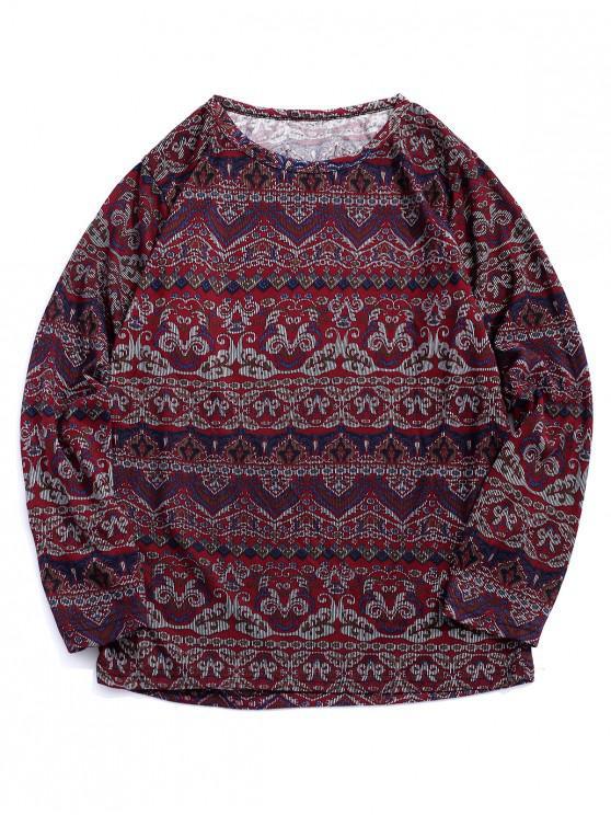 Camiseta bohemia floral con estampado geométrico de manga larga - Multicolor L